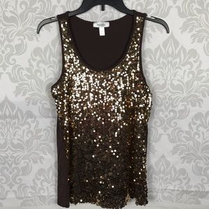 ❤️ 3/$20 Dressbarn Brown Gold Sequined Tank Top